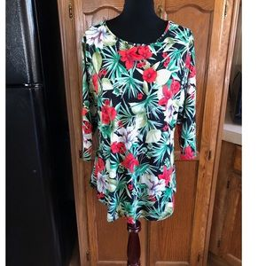 Tropical Floral Tunic Top by Impressive Size 2X
